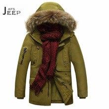 AFS JEEP Fur Hooded 2017 Man's Parkas Coat,parka hiver homme 2017,solid La ropa de abrigo for man cargo militar long coats