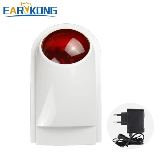 Free Shipping 2018 High Quality NEW White Wireless Flash Red Light Siren 433MHZ For Home Security GSM Alarm System