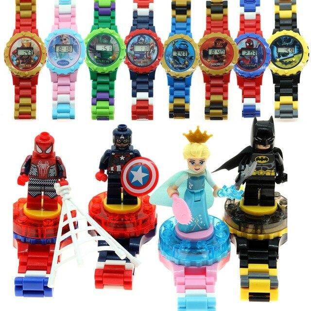 Relógio Spiderman Marvel Super Herói blocos de Construção do Modelo Ninjagoed LegoING Compatível com Legoed Figuras Bricks Brinquedos para as crianças presentes