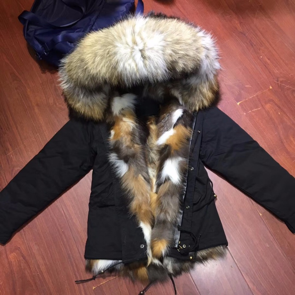 2017 New Style Casual Fox Fur Lined Colorful Mrs Women Style Luxury Fox Fur Parka With Hoodies