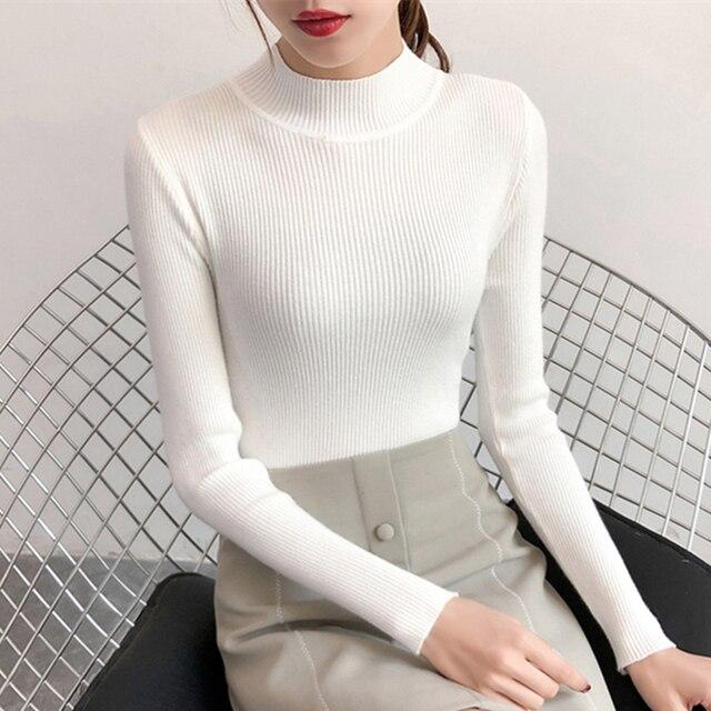 Bán 2019 mùa xuân Phụ Nữ Phụ nữ áo len đàn hồi cao Rắn nửa Cao Cổ áo len nữ mỏng áo giản dị chặt chẽ Dệt Kim Chui Đầu