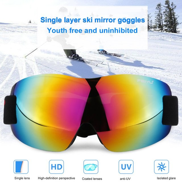 066 Windproof Sunglasses Ski Goggles Glasses Outdoor Sports Eyewear Bike Riding Skating Skiing Equipment Single Layers