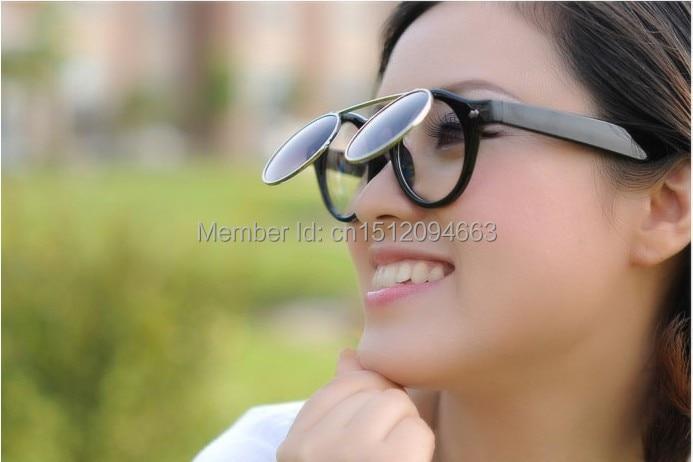 Circle Flip Up Sunglasses  retro flip up round lens eyeglasses vintage sunglasses for men