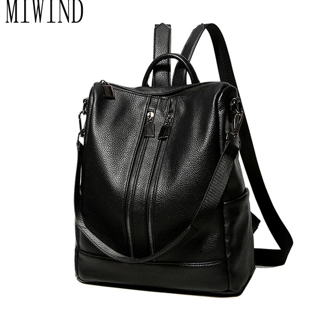 Women black leather backpack female fashion office bag ladies Bagpack Bags Girls Casual Travel Bag back pack T3340 women backpack fashion pvc faux leather turtle backpack leather bag women traveling antitheft backpack black white free shipping
