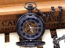 Nueva Llegada de La Vendimia De Cristal Negro Pattren Diseño de la Caja Azul Número Romano Esquelético Dial Reloj de Bolsillo Mecánico Con La Cadena de Regalo