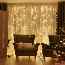 Remote control Window Curtain Lights Copper wire 3x3m 300 LED Christmas light Wedding Party Home Decorations 110/220V