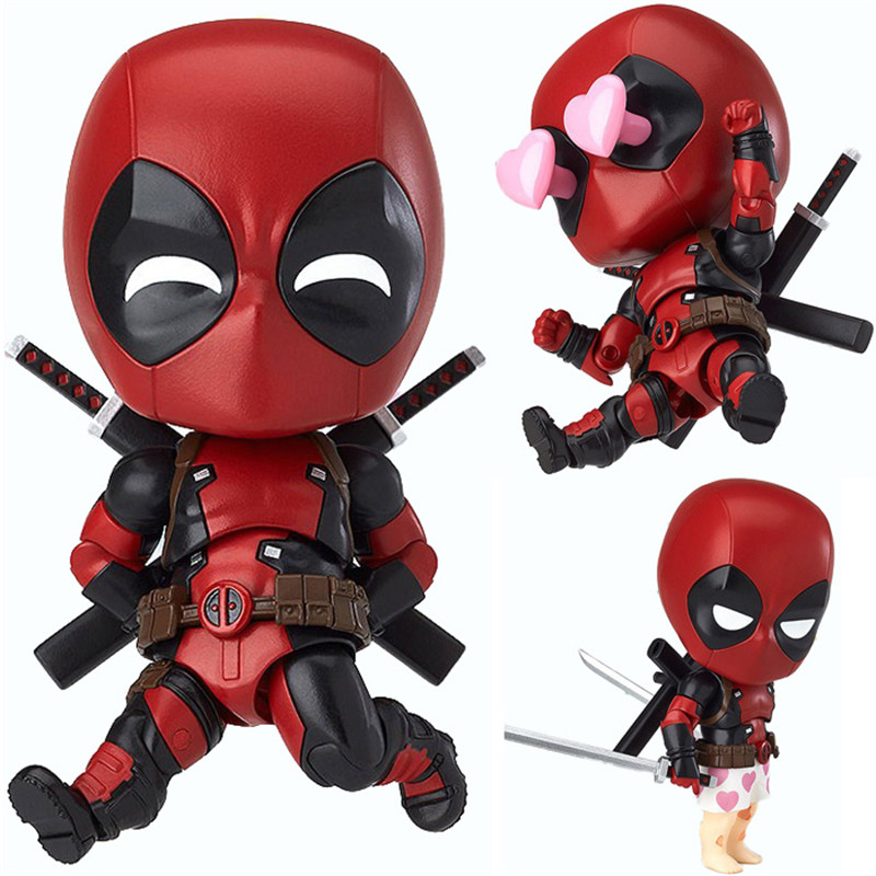 Deadpool PVC Action Figure Nendoroid Series Collectible Model Toy 10cm Deadpool Toys For Anime Lovers Christmas Gift N044  funko pop marvel deadpool 20 bobble head pvc action figure collectible model toy 4 10cm kt2203