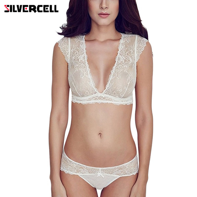 b25a470450115 SILVERCELL Women Sexy Embroidery Floral lace Bra Set Deep V Neck Sheer  Panties Thin See Through