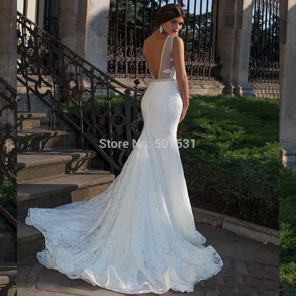 2015 Open Back Mermaid Wedding Dresses Vestido De Noiva Lace Wedding ...