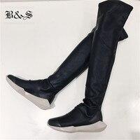 Черный и Street Для женщин колено высокие Роман подошва стрейч обувь с толстой подошвой эксклюзивные роскошные носок ботинка для Для женщин ЕС