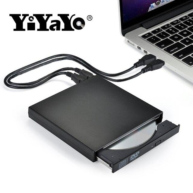 YiYaYo External DVD Drive Optical Drive USB 2.0 CD ROM Player CD-RW Burner Writer Reader Recorder Portatil for Laptop Windows PC