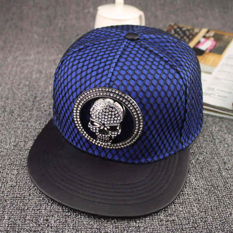 LDSLYJR металлический бампер с акриловым бейсболка с черепом хип-хоп бейсболка с возможностью регулировки размера Шапки для мужчин и женщин
