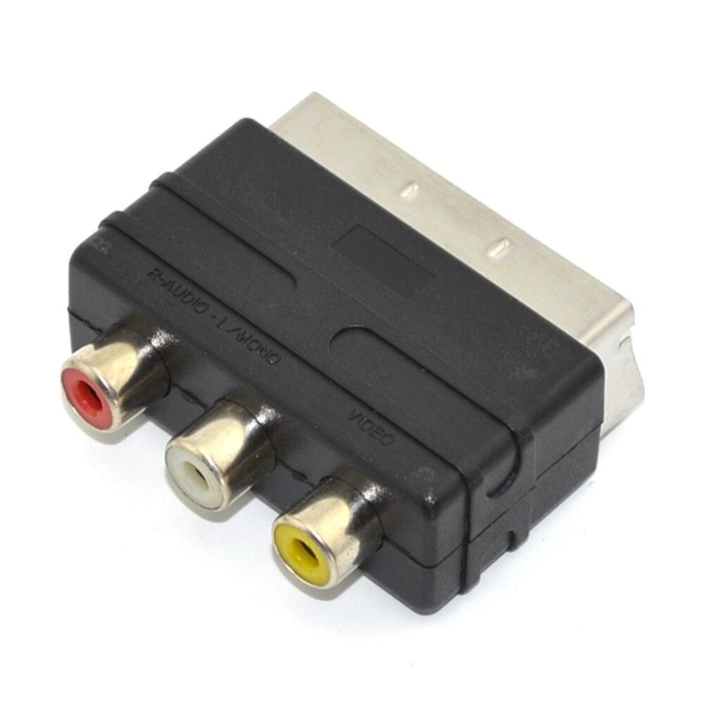 100 pièces 3RCA Vers Péritel Adaptateur AV Câble Convertisseur pour PS4 pour Wii TV DVD