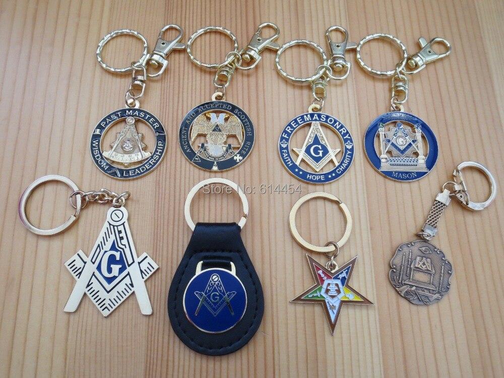 LOT of 8 PCS different Masonic Key Chains Mason Freemason-in Pins ... 6ed39cf6b