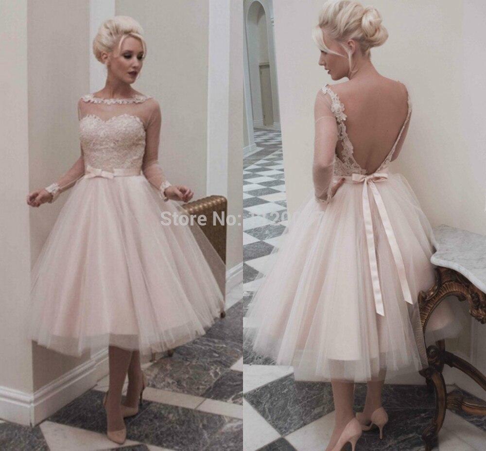 Popular Lace Long Sleeve Wedding Dress Tea Length-Buy Cheap Lace ...