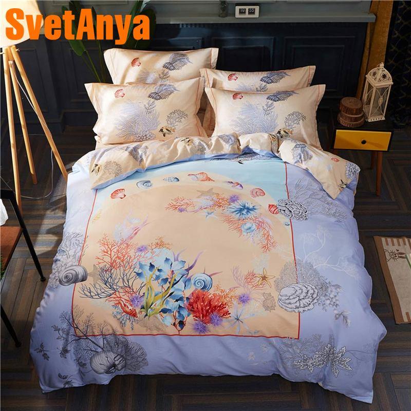 Svetanya Coral Scenic Bedding Set 100 Cotton sheet pillowcase Quilt Cover Bedding SetsSvetanya Coral Scenic Bedding Set 100 Cotton sheet pillowcase Quilt Cover Bedding Sets