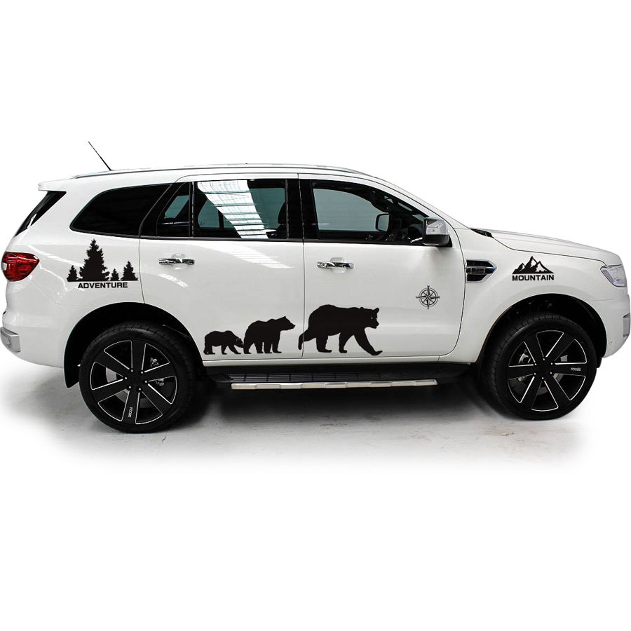 Custom car decals 8pc whole body mountain tree bear graphic vinyl car accessories stickers for ford everest endeavour 2013 2019 in car stickers from