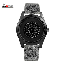 Enmex neutral special design wristwatch Rotating number creative design Nordic style neutral cool fashion quartz clock watches