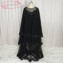 SuperKimJo Muslim Kaftan Svart Arabiska Aftonklänningar Dubai Lace Applique Crystal Formella Klänningar Vestido De Gala