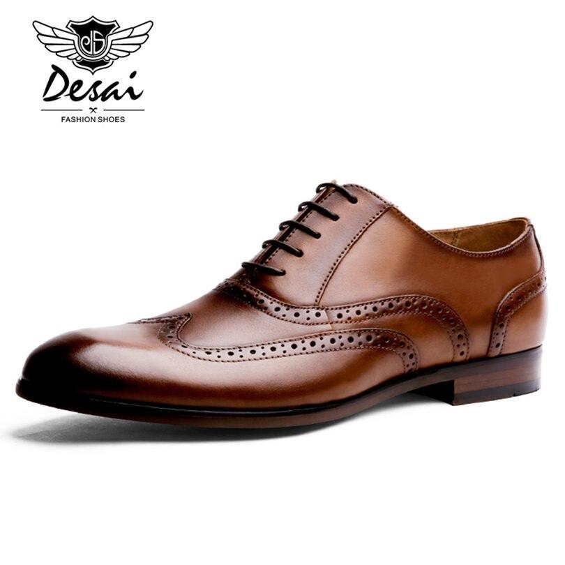 Ayakk.'ten Erkek Rahat Ayakkabılar'de DESAI Marka Tam Tahıl Deri Erkek Oxford Ayakkabı İngiliz Tarzı Retro Oyma Bullock Resmi Erkek Elbise Ayakkabı Boyutu 38  47'da  Grup 2