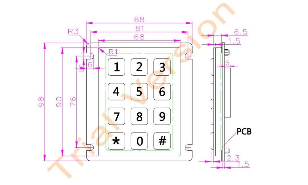 Teclado IP65 100% impermeable teclado de acero inoxidable teclado - Periféricos de la computadora - foto 2