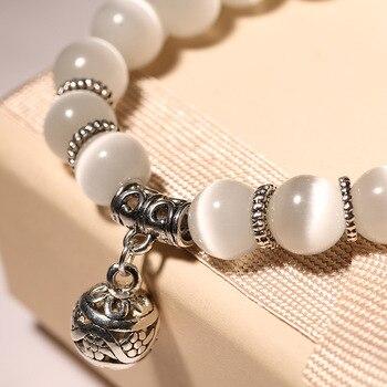 Bracelet En Pierre De Lune Blanche 6mm Et 8mm
