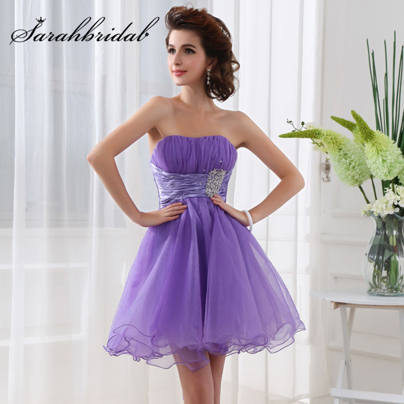 Elegant Graduation Dresses 2020 Short Formal Crystal Pleat Tulle Dress Lace Up Prom Homecoming Gowns Cocktail Vestidos SD018