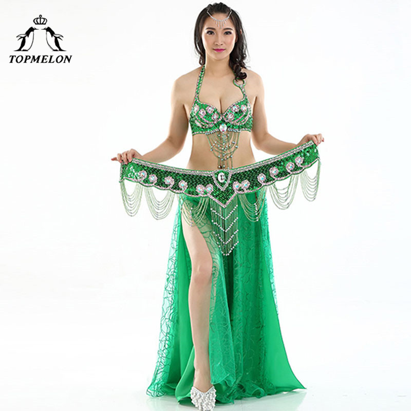 TOPMELON Push Up Belly Dance Costume Set Women 34C Bras & Bead Belt & Chiffon Skirts Sexy Belly Dancing Clothing Performance