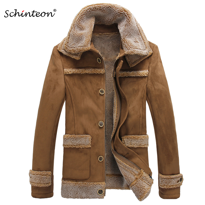 2018 New Arrival Men Suede Leather Jacket Faux Shearling Sheep Leather Coat Outwear Thick Warm Winter Gift Clothing Top Quality-in Faux Leather Coats from Men's Clothing    1