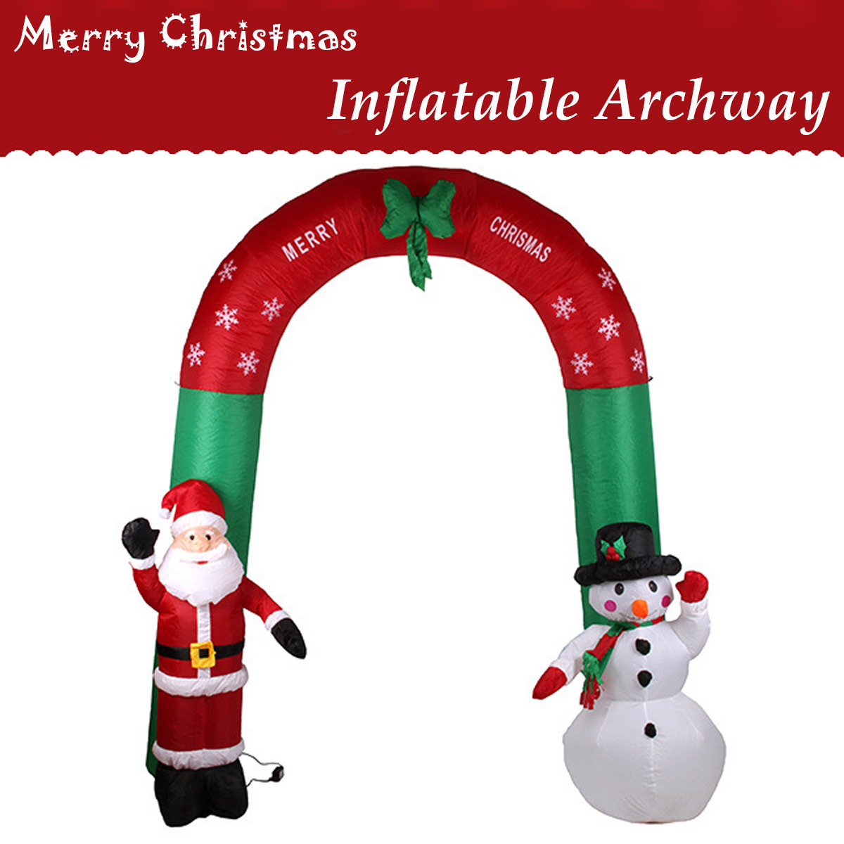 2.4M Giant Inflatable Snow Arches Toy Santa Claus Christmas Decoration For Hotels Supper Market Entertainment Venues Holiday santa claus holiday printed pillow case