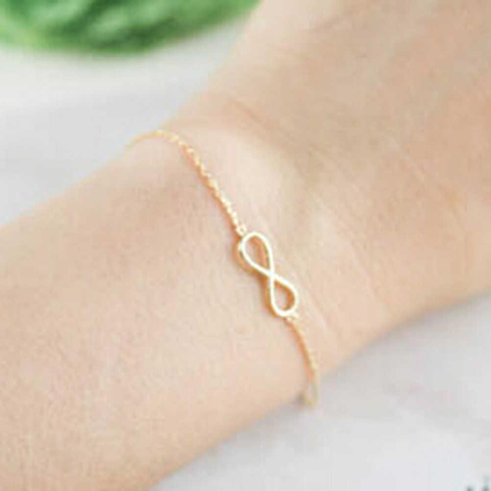 Jettingshop moda mujer diseño Simple doble número de la suerte 8 pulsera de la señal del Infinito brazalete de las señoras Infinity Link pulsera de tenis