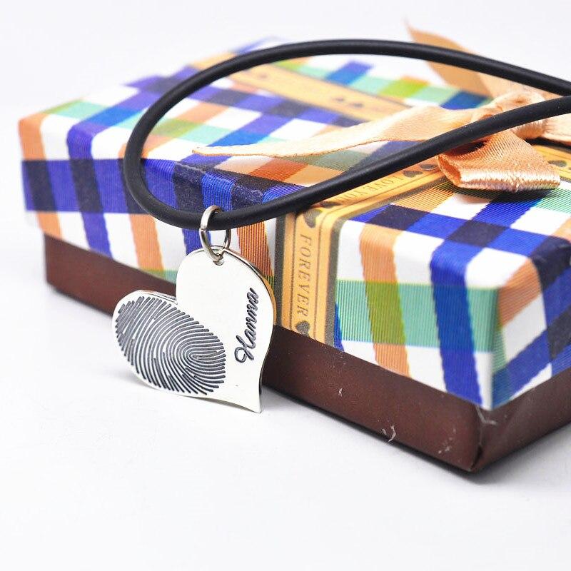 Персонализированные по отпечаткам пальцев выгравированное ожерелье из кожаной цепи пара именная печать сердце кулон серебро памяти ювели