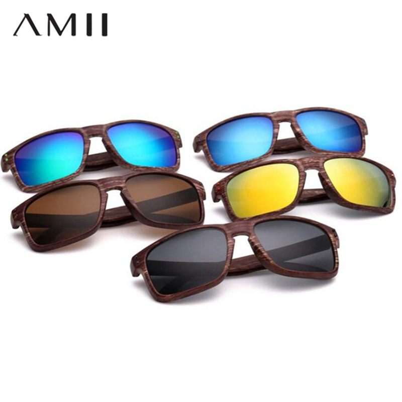 все цены на AMII 11 Color New Arrivals Imitation Wood Sunglasses Men Brand Designer Fashion Square Sport Outdoor Sun Glasses Male SX11 онлайн