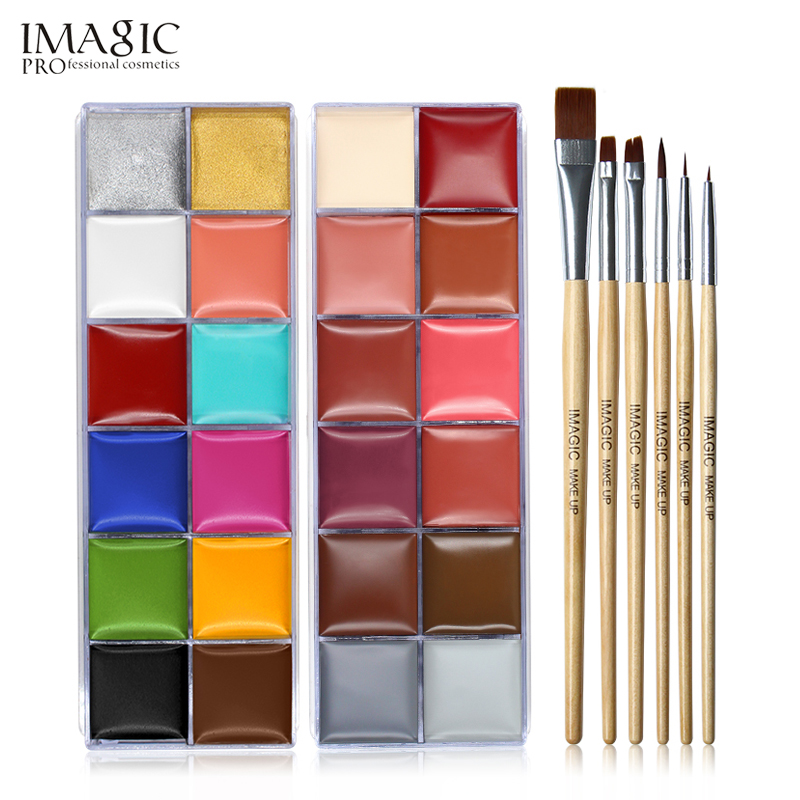 IMAGIC Halloween Face Body Paint Oil Painting Art Make Up Set Tools Party Fancy Dress 12 Flash Tattoo Color+6pcs Paint Brush цена