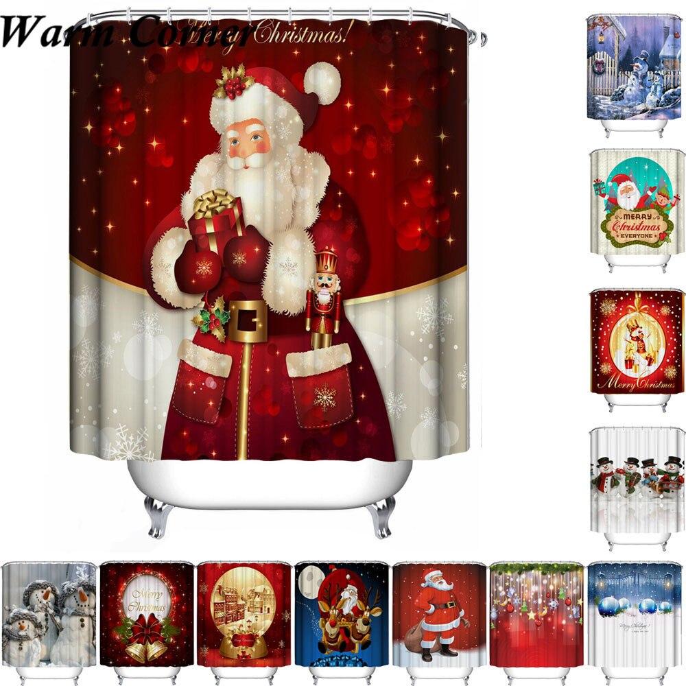 High Quality Shower Curtain Christmas Fabric Waterproof Bathroom Santa Decor Home New Year Hooks