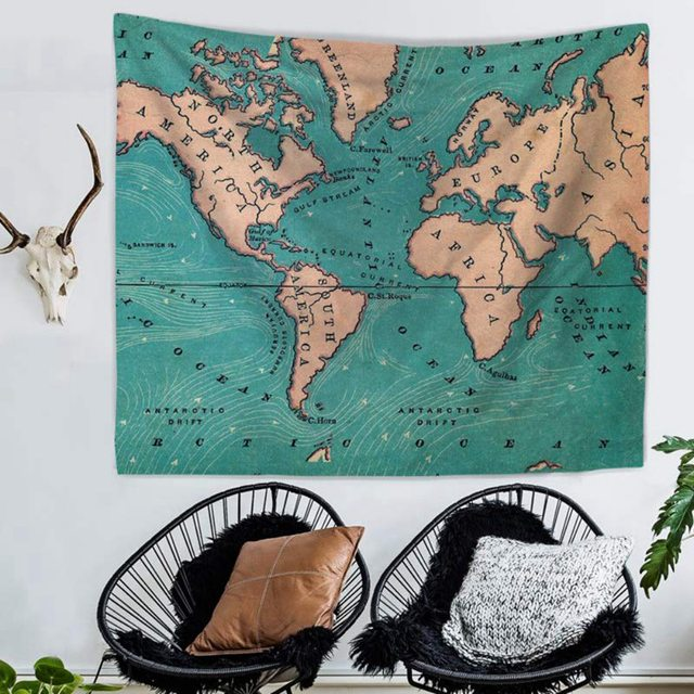 Watercolor World Map Tapestry Wall Hanging Colorful Map Tapestry