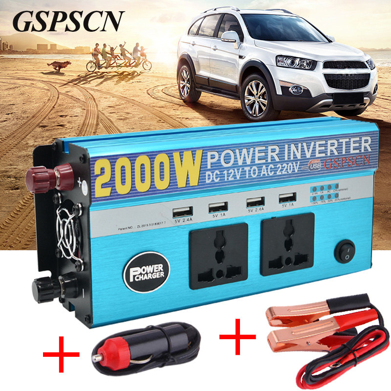 Car Adapter Power Inverter 12V 24V To 220V Vehicle Converter with 4 USB and 2 Plug Car Multifunction Transformer Fit below 800W 220v to 12v car power car inverter converter transformer car turn home 60w96w120w