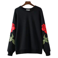 Sudaderas Mujer 2018 New Fashion Autumn Brand Women Hoodies Pullover Rose Embroidery Sweatshirt Tracksuits Moletom Feminin