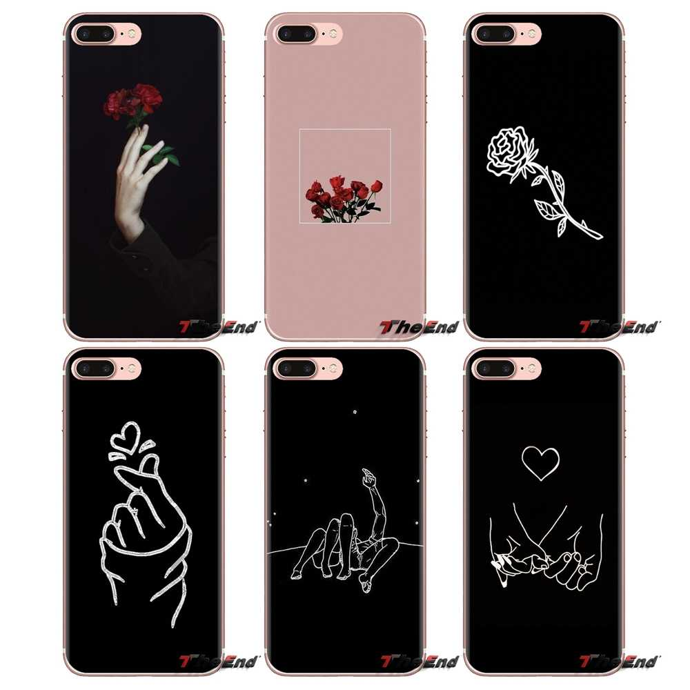 For LG G3 G4 Mini G5 G6 G7 Q6 Q7 Q8 Q9 V10 V20 V30 X Power 2 3 K10 K4 K8 2017 White Line Kiss Love Heart Flower Rose Phone Cover