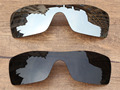 Chrome Silver & Black 2 Pieces Polarized Replacement Lenses For Batwolf Sunglasses Frame 100% UVA & UVB Protection