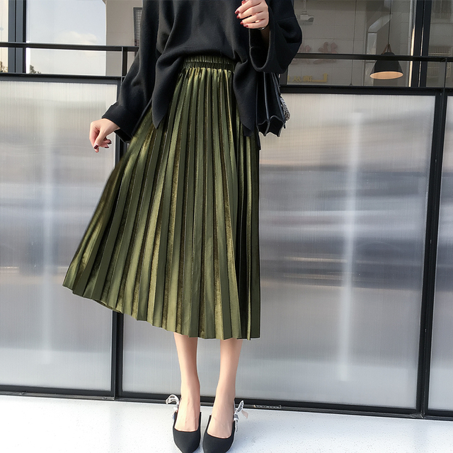 85c19da8f8 2018 new autumn winter Women Vintage Long Skirts Fashion casual High Waist  Faldas Mujer Saias maxi velvet Women Pleated Skirts