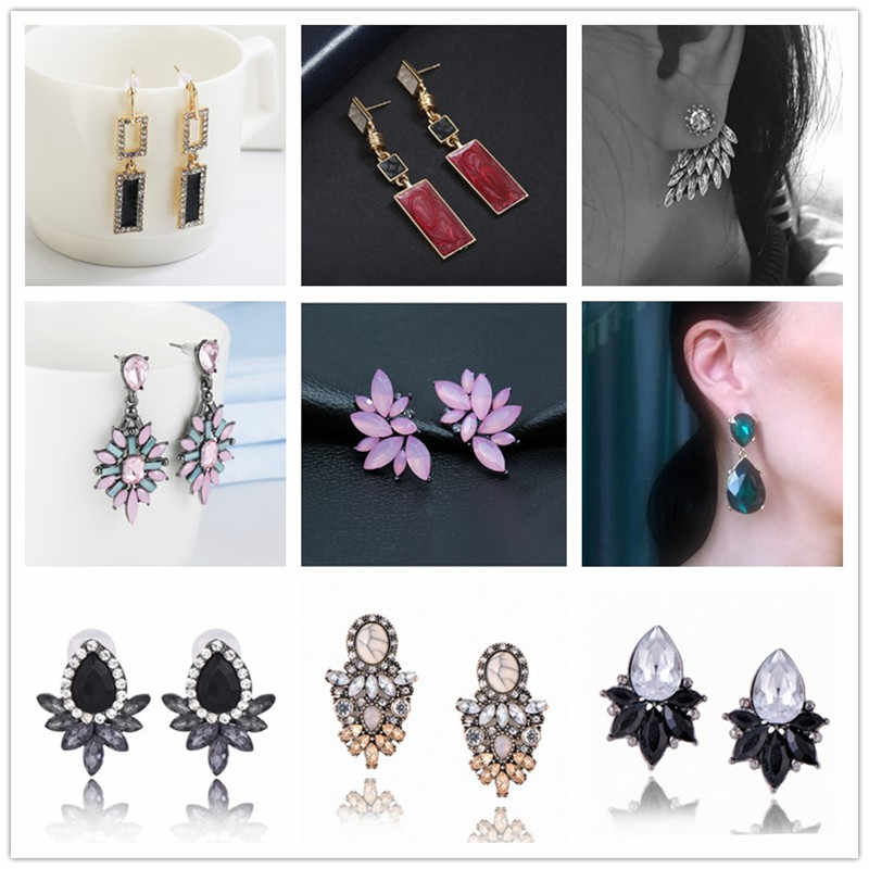 2018 new fashion colorful flower fancy drop earring pendant women girl crystal punk statement earrings jewelry wholesale