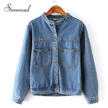 Autumn 2015 jean jacket for women fashion pocket design long sleeve coat female new arrival slim solid denim jackets outerwear