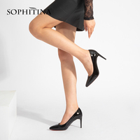 SOPHITINA Elegant Pumps Bordeaux Patent Leather Thin Heels Pointed Toe New Girl Wedding Pumps High Heel Sheepskin Shoes Women W2