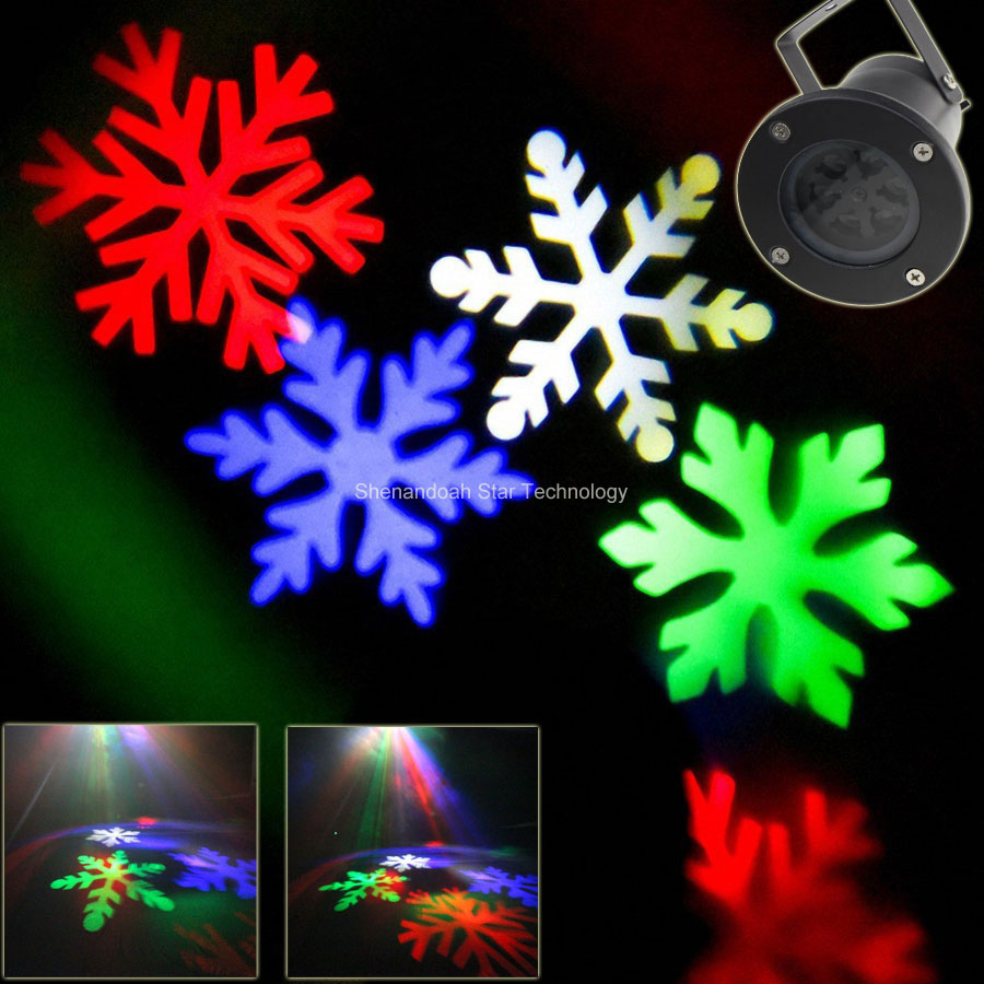 ESHINY Outdoor white RGB LED Snow Pattern Projector Coffee House Dance Disco Party Xmas Tree DJ Wall Landscape Garden Light xl10 96 pattern 9w black led rgb projector