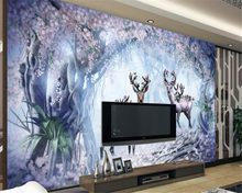 beibehang papier peint Classic dream wallpaper Nordic nostalgia forest flower elk TV sofa bedroom wall 3d