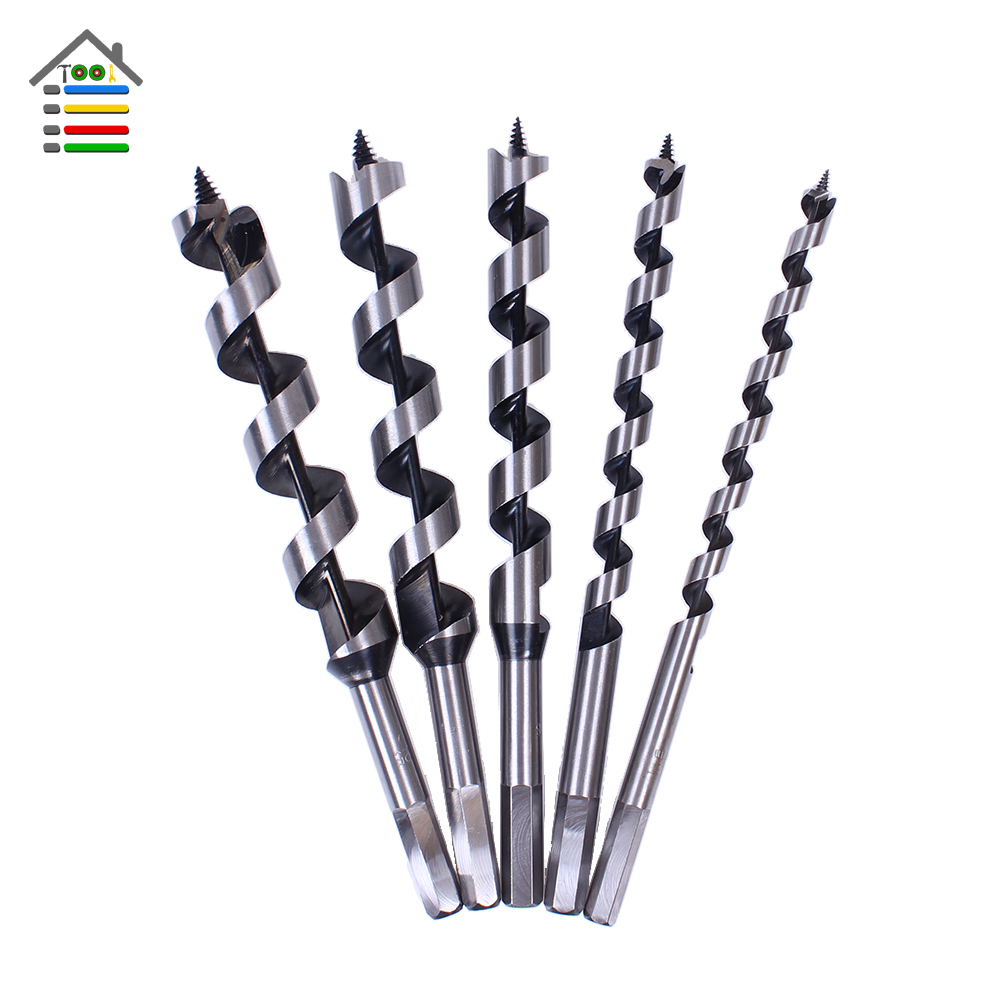 New 5pc Brad point Drill 40Cr Steel Auger Drill Bit Set Hex Spiral Wood Drilling 10-25mm brad booker