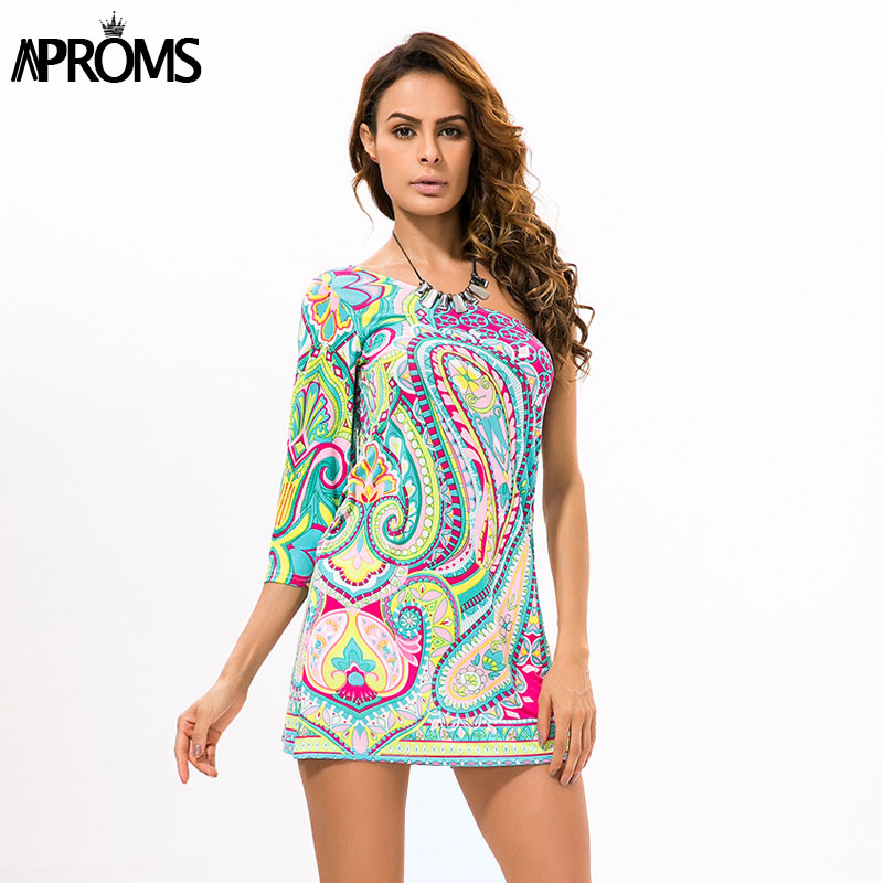 24d029fcd7a Aproms 2019 New Bohemian Style Women Summer Dress Sexy One-Shoulder 3/4  Sleeve