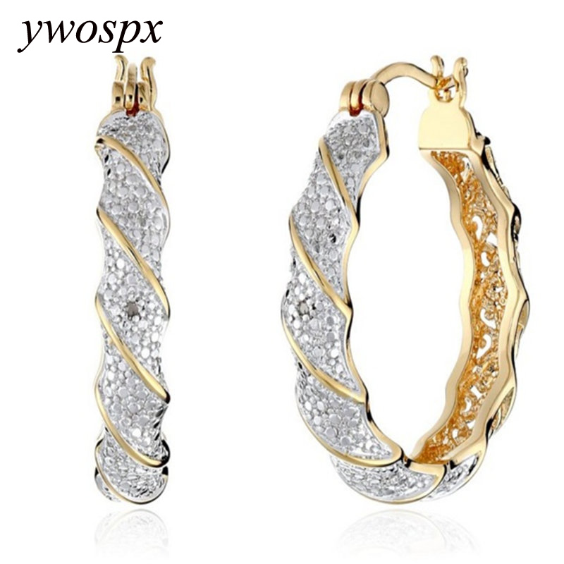Luxury Pendientes Gold Silver Big Hoop Earrings For Women Jewelry Wedding Zircon Brincos Engagement Statement Earring
