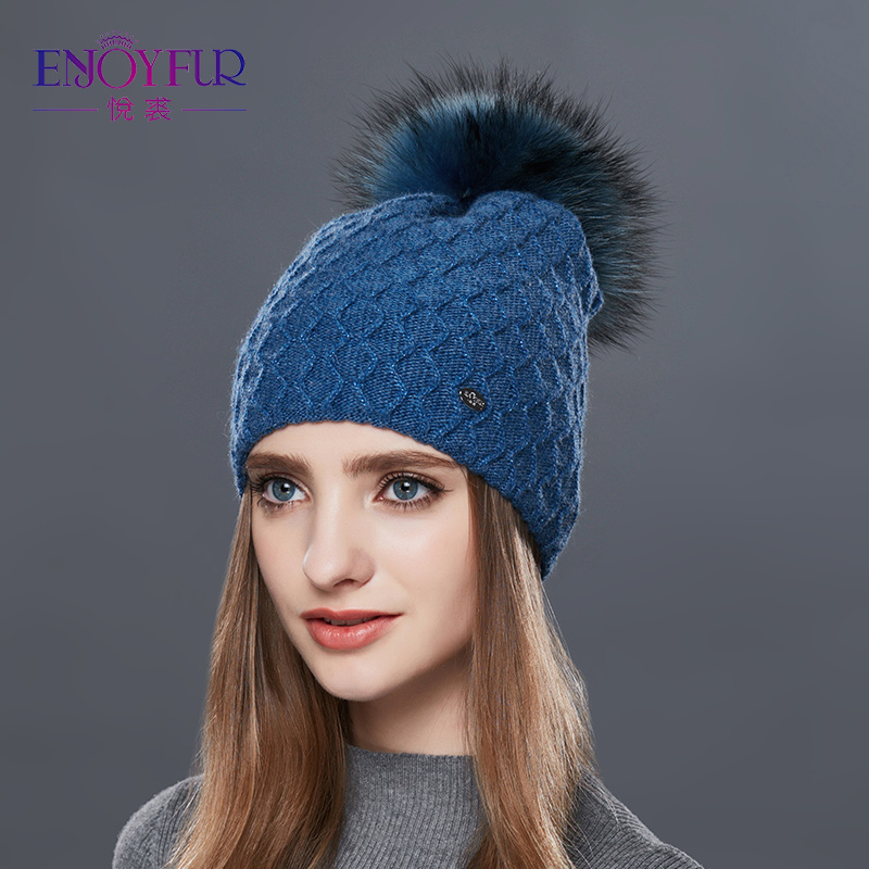 ENJOYFUR Real Fur Pompom Hat Women Cashmere Knitted Winter Hats For Girls Thick Wool Female   Skullies     Beanies   Diamond Lattice Cap